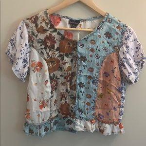 Vintage Sacred Thread Floral Patch Button Blouse